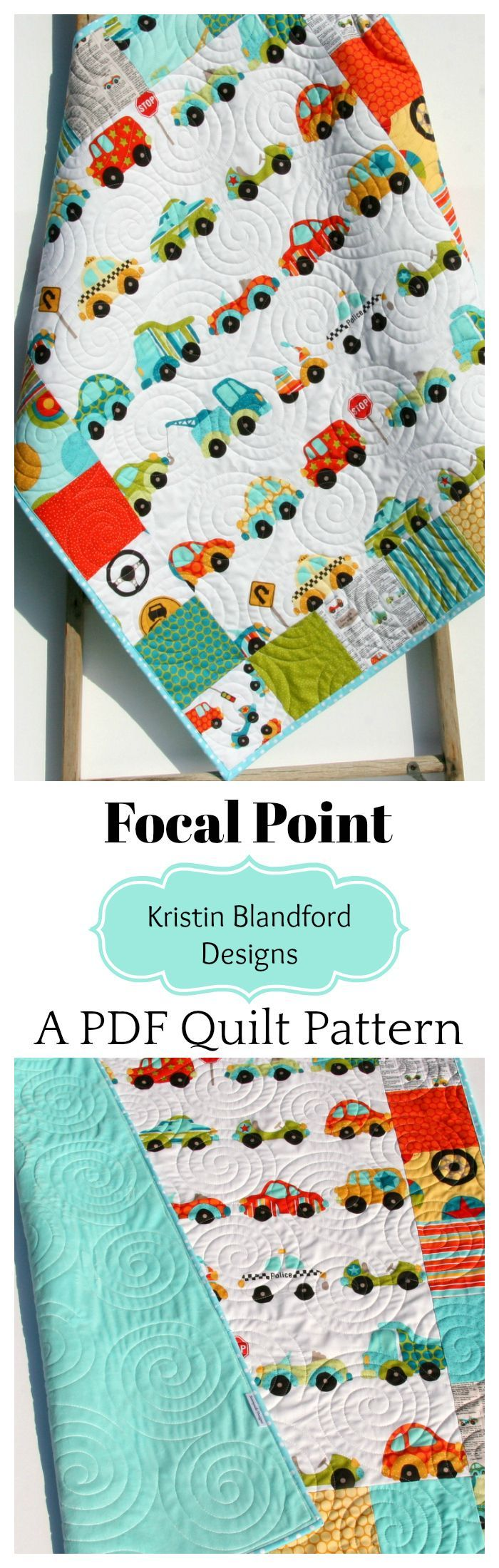 Focal Point Baby Quilt Pattern, Beginner Quilt Pattern, Baby Quilt Pattern, Patchwork Around Focal Fabrics, Designer Fabrics, Modern Quilt Pattern, Quilting Sewing Ideas, Crafts Crafting diy, Cars Truck Vehicles Boy Quilts, Simple Quick Easy Quilt Pattern by Kristin Blandford Designs #quiltpattern #beginnerquiltpattern #babyquiltpattern