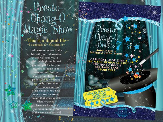 20 best magic show birthday party invitations images on pinterest magic show invitation magic show party party by bellaluella 1100 stopboris Images