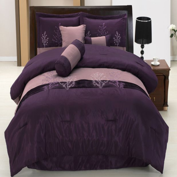 chezmoi collection 7 pieces faux silk purple u0026 lilac embroidery tree design comforter bedinabag set queen size bedding