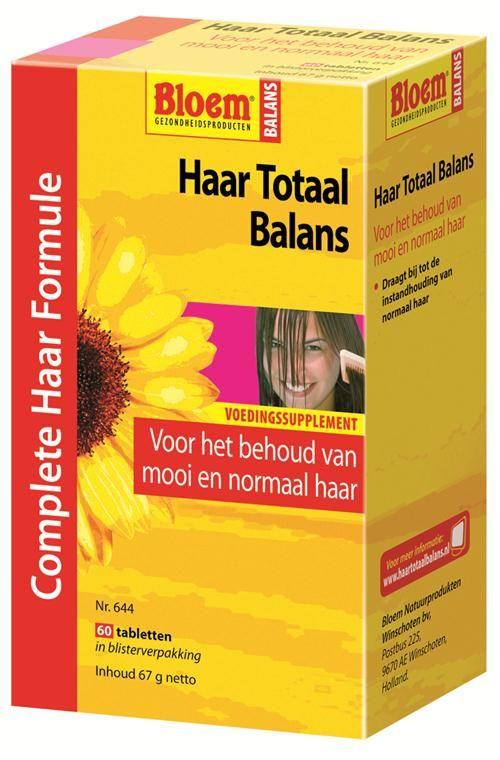Bloem Natuurproducten Haar Totaal Balans  60 tabletten - Haar Totaal Balans is een uitgebalanceerde formule, speciaal ontwikkeld voor het haar. Bevat onder andere biotine en zink, voedingsstoffen die bijdragen tot de instandhouding van normaal haar.