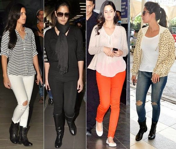 Katrina Kaif with their Flight traveling dressing Styles
