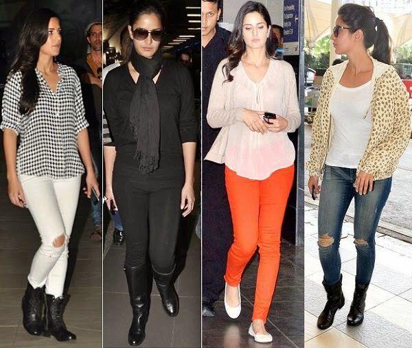 Katrina Kaif with their Flight traveling dressing Styles