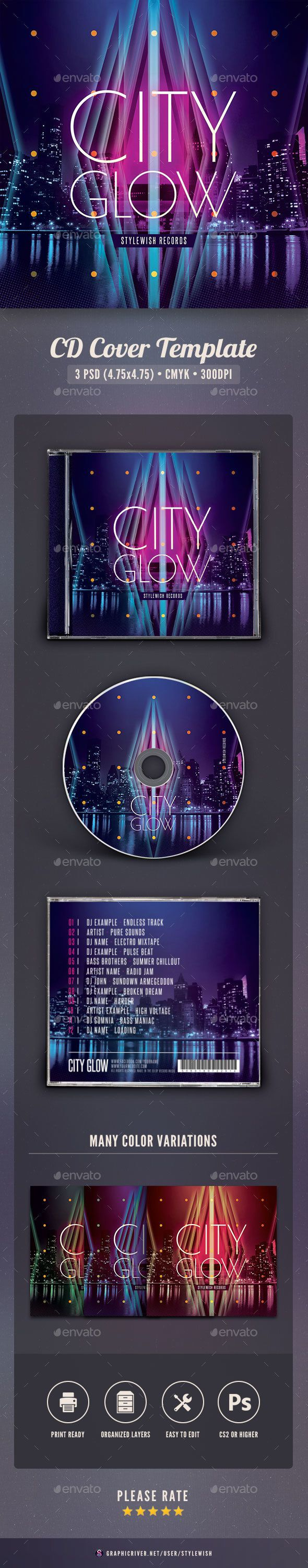 City Glow CD Cover Artwork — Photoshop PSD #dark #glow • Available here → https://graphicriver.net/item/city-glow-cd-cover-artwork/16116043?ref=pxcr