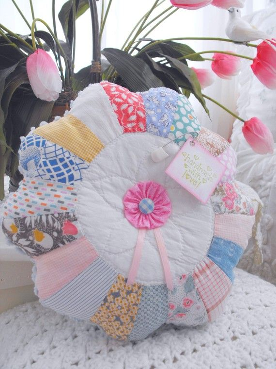 Vintage Chenille And Vintage Dresden Plate Quilt by thepinkpalace