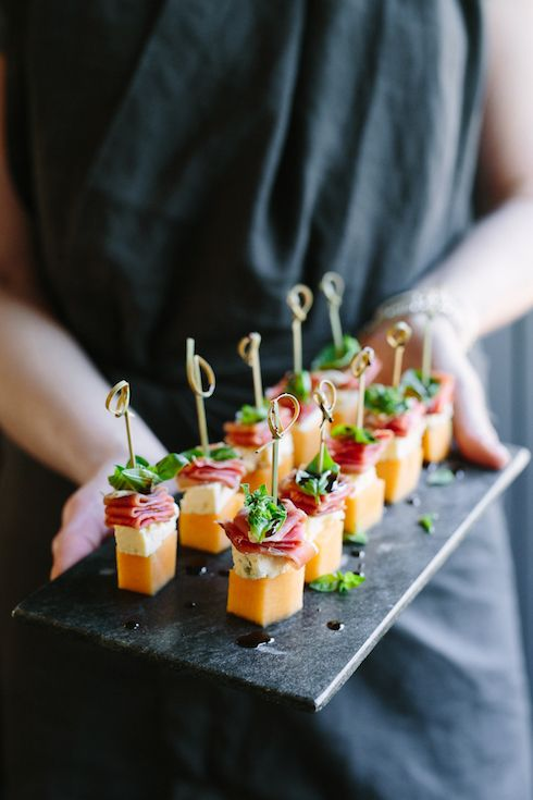 Melon,Blue Cheese,  Prosciutto and Basil Canapés   -   The Food Fox |