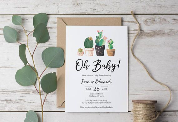 Modern Cactus, Oh Baby Shower Invitation, Invite, Succulant, Cacti, Desert, Print at home, Instant Download, Set Suite Casual DIY (1518)