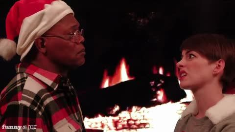 "'The Sad-Off' with Samuel L. Jackson and Anne Hathaway. Django vs. Les Misérables - because ""nothing says Christmas like slaves and whores."" (Click through to watch the video)"