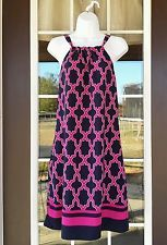 Womens size small s crown & ivy tropical punch sleeveless dress resort pink navy