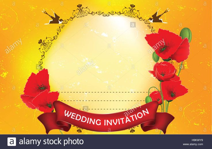 Download this stock image: Grunge Wedding invitation with poppies and swallows. Print colors used. All separated layers. Size of a custom greeting card - H9KWY9 from Alamy's library of millions of high resolution stock photos, illustrations and vectors.