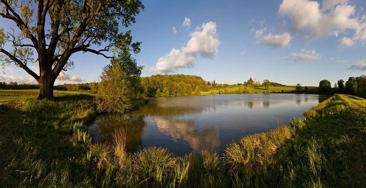 Podkrkonoší - pohled od rybníka Byšička na návrší Byšičky s poutním kostelíkem sv. Petra a Pavla nedaleko Lázní Bělohrad (foto: Jakub Müller)