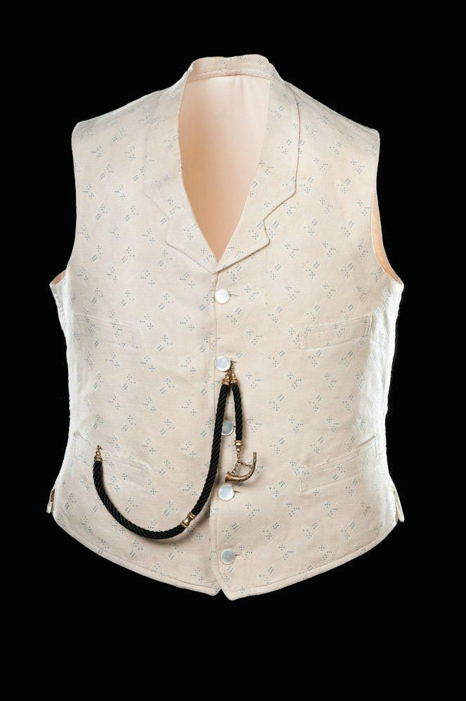 Man's Vest & Watch Fob : Vest - Brocade with Dice motif - American - 1855-1865 ; Watch Fob - Braided horsehair with bugle charm - 1850-1870
