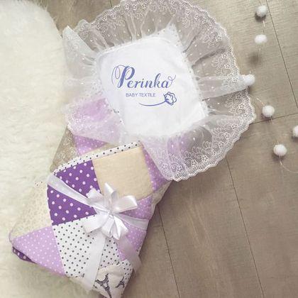 Для новорожденных, ручной работы. Ярмарка Мастеров - ручная работа. Купить Конверт на выписку. Лоскутное одеяло для новорожденного. Handmade. Голубой