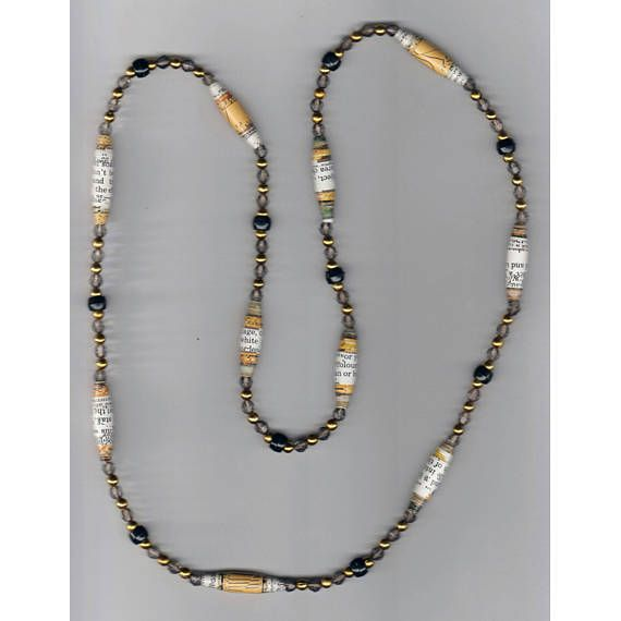 One-of-a-kind Handmade Paper Bead Necklace with gray bi-cone