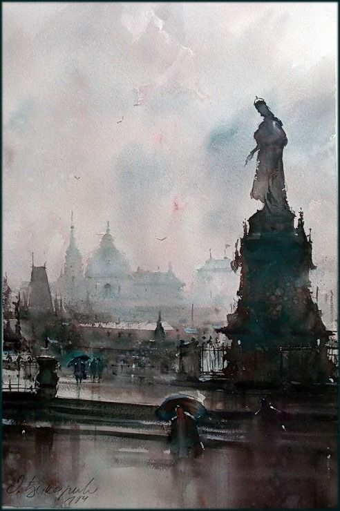 Dusan Djukaric Praque, rainy day, 36x55 cm