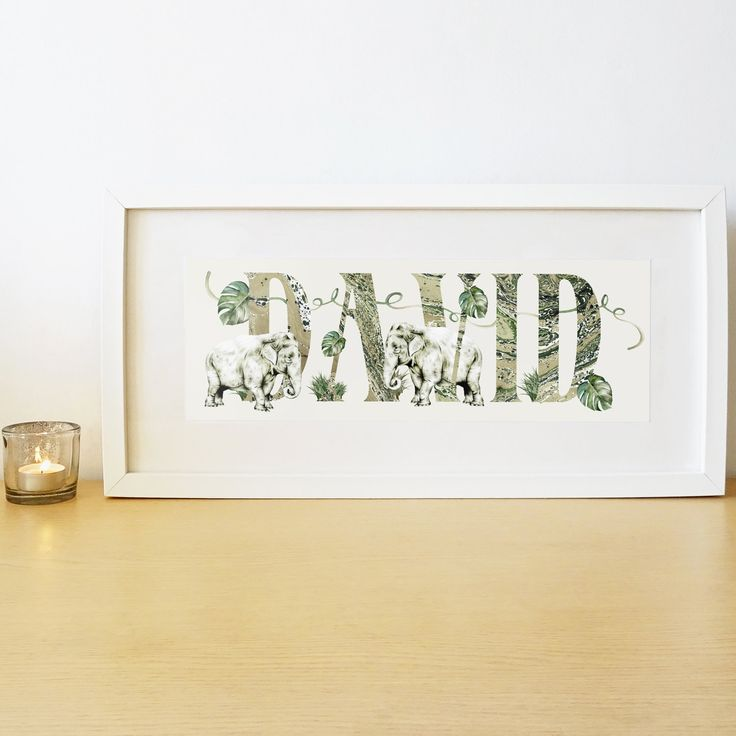 62 best baby child gifts and decor images on pinterest khaki green asian elephant name print for children personalised baby gift framed boys and girls name sign custom name art elephants negle Choice Image