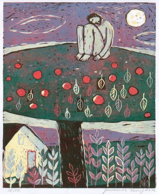 Tree, 2012, linocut, 33,3 x 25 cm by Jindrich Pevny