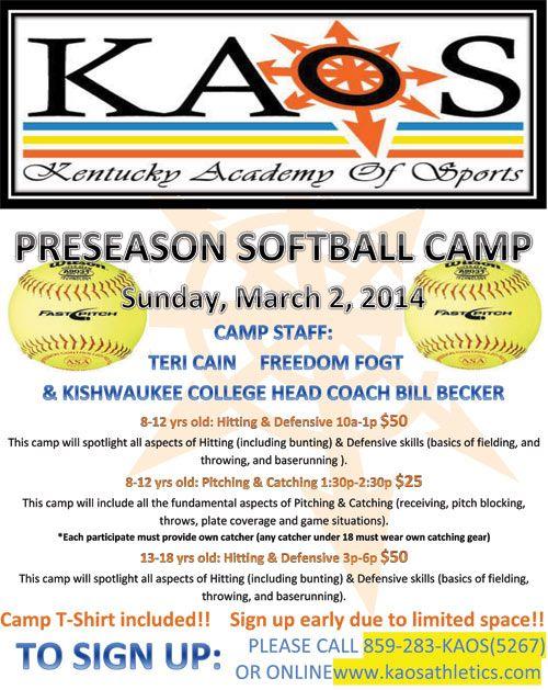 KAOS Preseason Softball Camp 2014