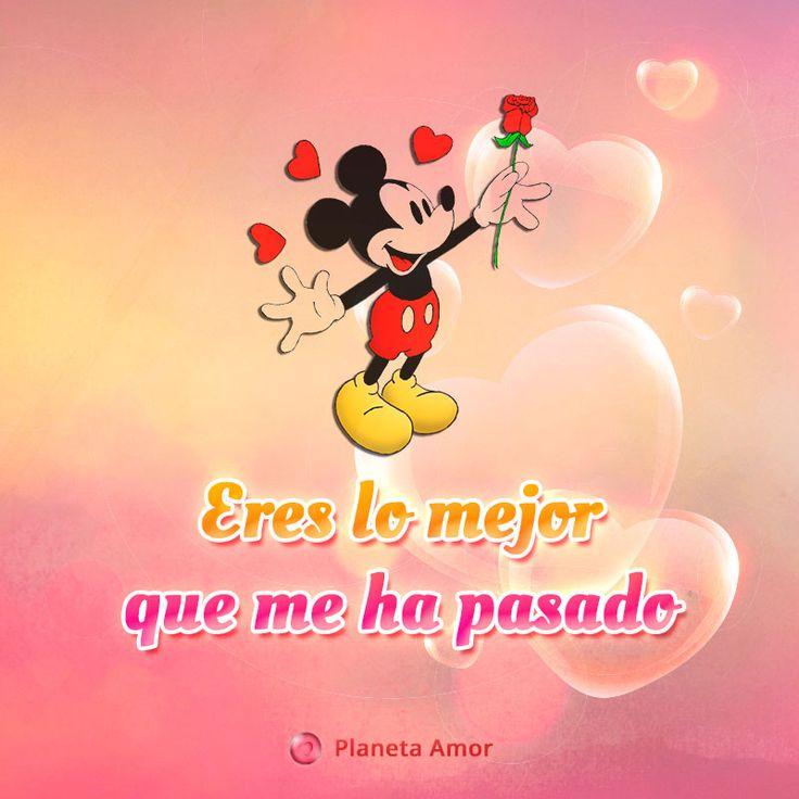 Imagen de Mickey Mouse de amor con frase romántica.