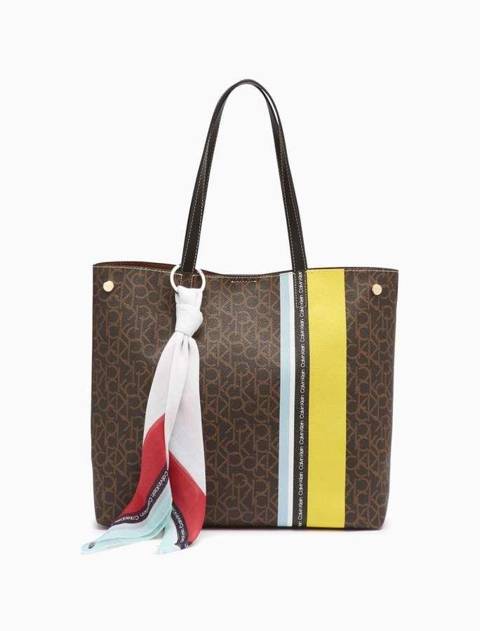 8d0bbde4e CK Monogram Stripe Bandana Tote Bag in 2019 | Trending Handbags | Bags, Tote  bag, Bandana