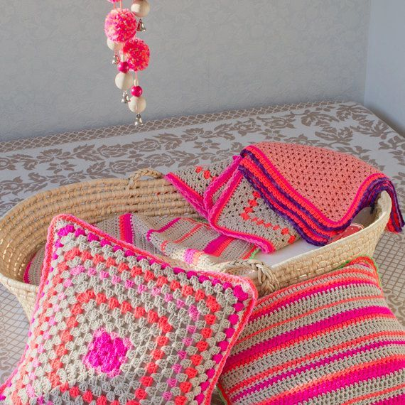 Love the neon pink with orange contrast-Crochet Pillow