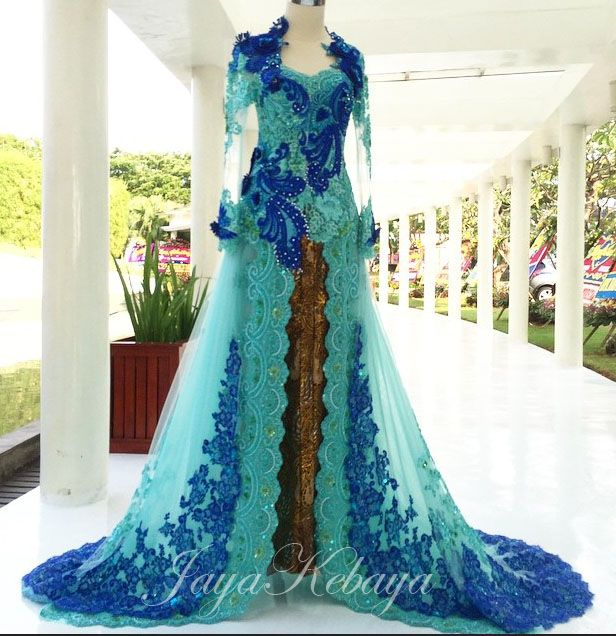 wedding dress kebaya modern blue light 2016.