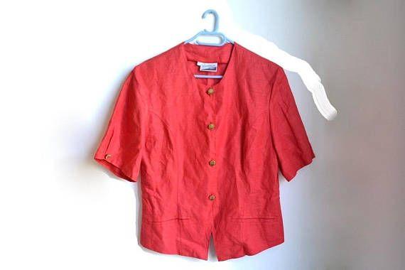 Vintage Red Short Sleeve Blazer Womens Clothing Large L