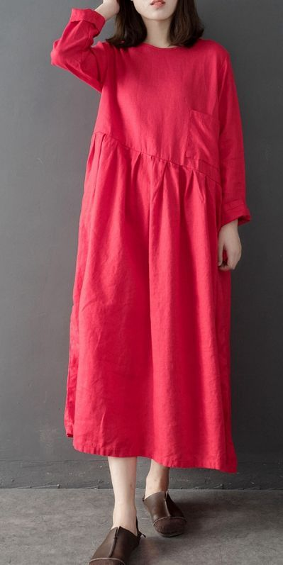 Women Vintage Pink And Red Linen Maxi Dresses For Spring Q8010