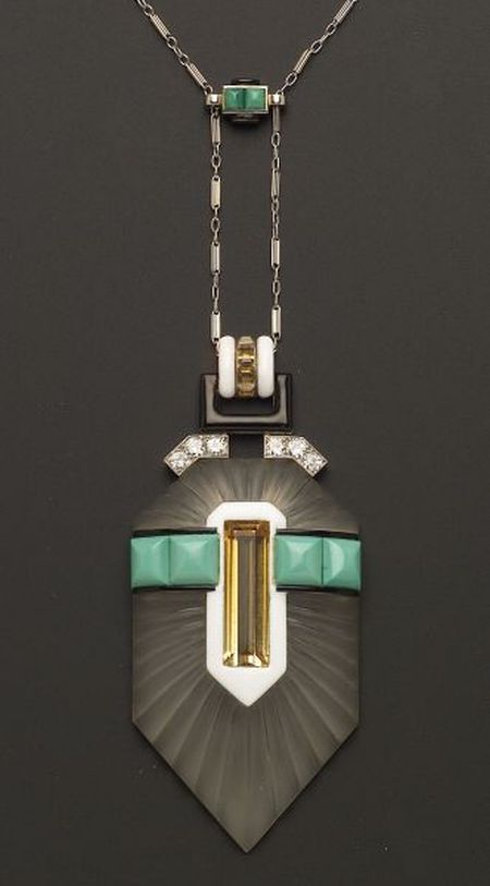 Art Deco Platinum, Rock Crystal and Gem-set Pendant Necklace 30.media.tumblr.c...