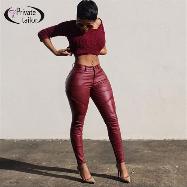 100% Strong Recommend Sexy and Hot Imitation PU Leather Leggings Wine Red High Waist Pockets Skinny Pants Women Pencil Trousers