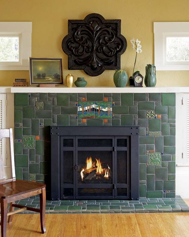 17 best images about craftsman fireplaces on pinterest for Arts and crafts tile fireplace
