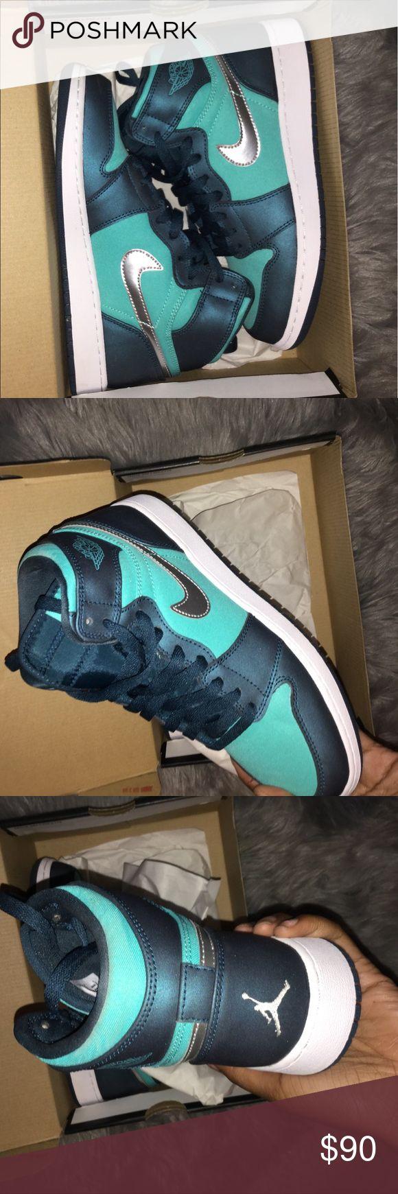 Jordan 1 retro ones Girls Blue and teal Jordan retro ones Never worn!! Air Jordan Shoes Athletic Shoes