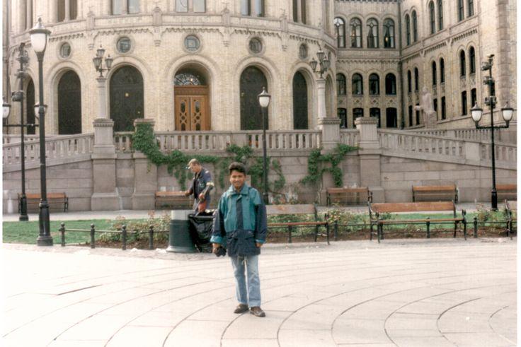 In front of Norwegian parliament