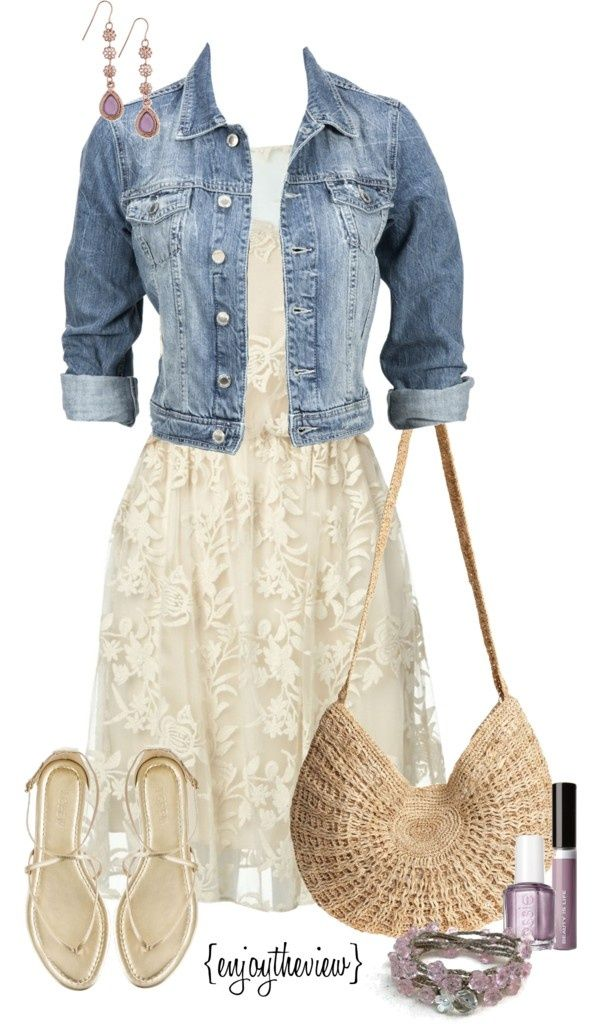 Love the denim jacket with the dress!