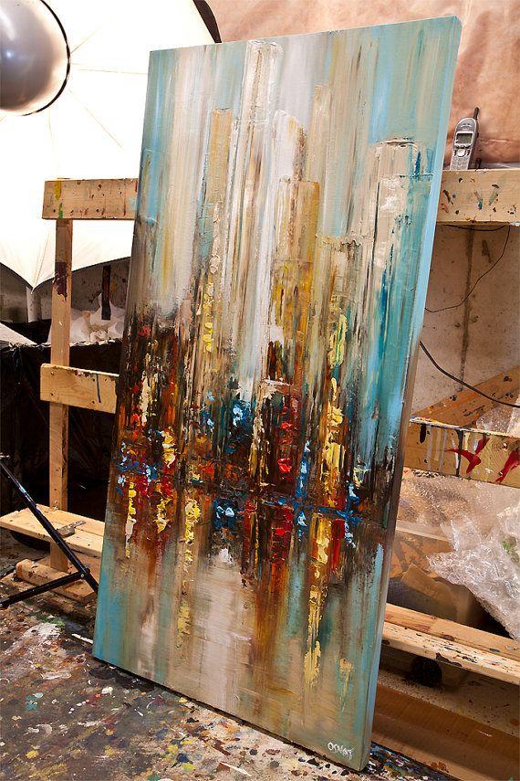 Couteau à palette moderne ville abstraite peinture par OsnatFineArt