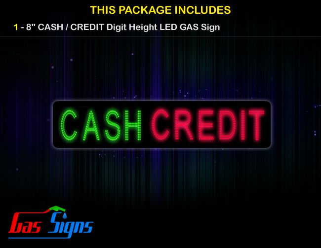 CASH / CREDIT 64.4 x 11 - GAS PRICE LED SIGN w/ RF Remote Control with housing dimension H283mm x W1679mm x D40mmand format  comes with complete set of Control Box, Power Cable, Signal Cable & 2 RF Remote Controls (Free remote controls).