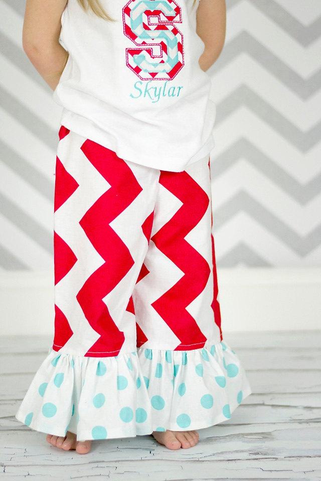 Chevron Pants - Ruffle Pants - Red and White Aqua Chevron Pants -  Girls Ruffle Pants - Chevron Dots Ruffle Pants. $23.00, via Etsy.