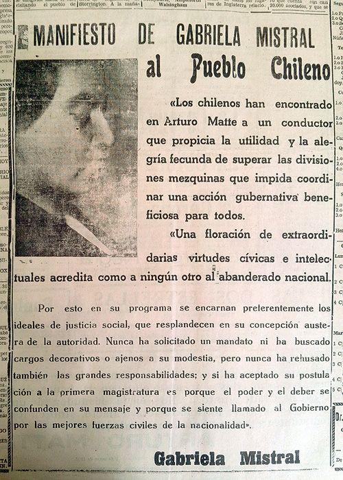 """""""Manifiesto de Gabriela Mistral al Pueblo Chileno"""", adhiriendo a la candidatura derechista de don Arturo Matte. Diario """"El Día"""" de ..."""