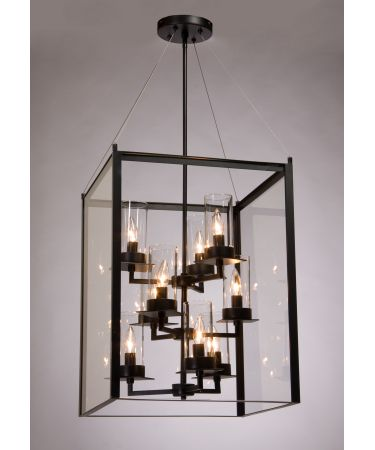 Love this - works great with the squareness of the foyer and all the windows! not too contemporary either... could use some cool vintage style bulbs that show interior filament... Steven and Chris SC659 Crawford 19 Inch Large Foyer Chandelier