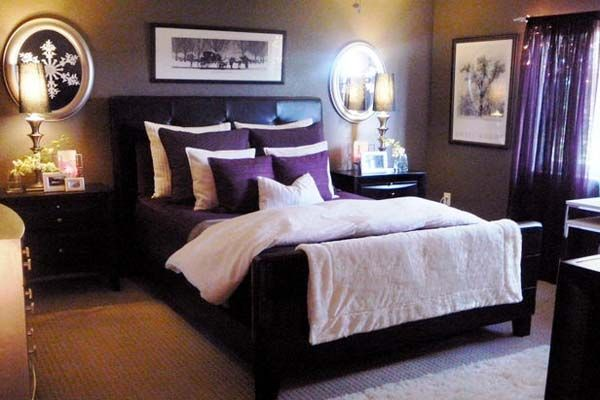 minimally furnished bedroom design ideas dominate purple