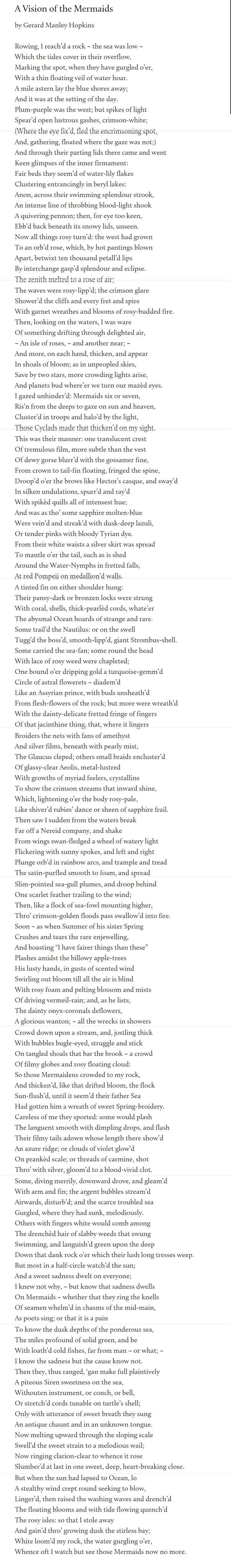 A Vision of the Mermaids by Gerard Manley Hopkins