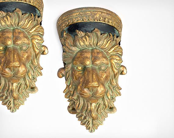 Gold Leaf Lion Curtain Sconce - Curtain Rod Holders - Corbel Brackets and Bookends - Antique Gold - Lion Curtain Holders - CORBEL Wall shelf