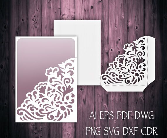 Wedding Invitation Pocket Envelope 5x7 SVG Template, Quinceanera Invitation, laser cutting file, Silhouette Cameo, Cricut INSTANT DOWNLOAD