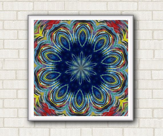 Instant download art poster. Mandala. Art home wall decor. Gift ideas printable. For meditation. Red blue yellow by DreamingMandalas #instantdownload #mandalaprintable #mandalastamps #digitalpaper #kaleidoscope #artwallprintable #inspirationalposter #walldecorprint