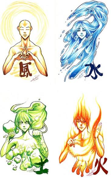 Luft, Wasser, Erde, Feuer