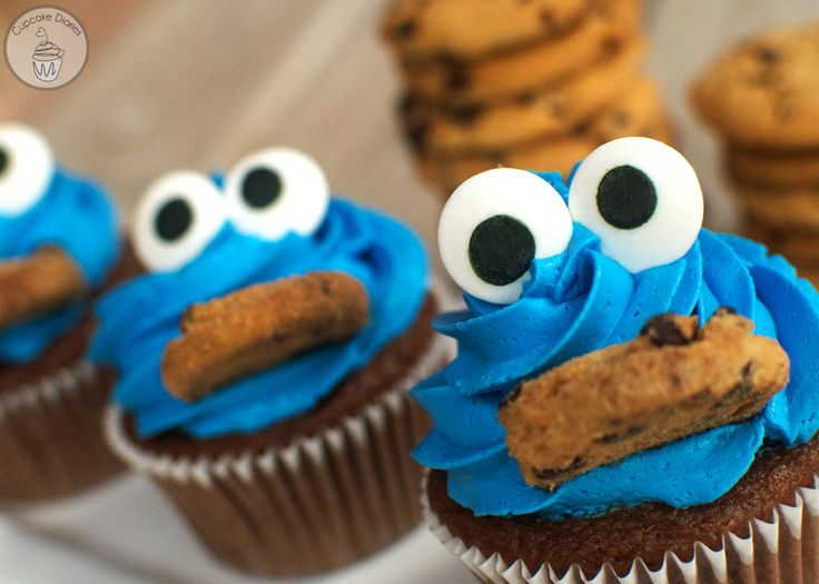 Cookie Monster Cupcakes by Cupcake Diaries