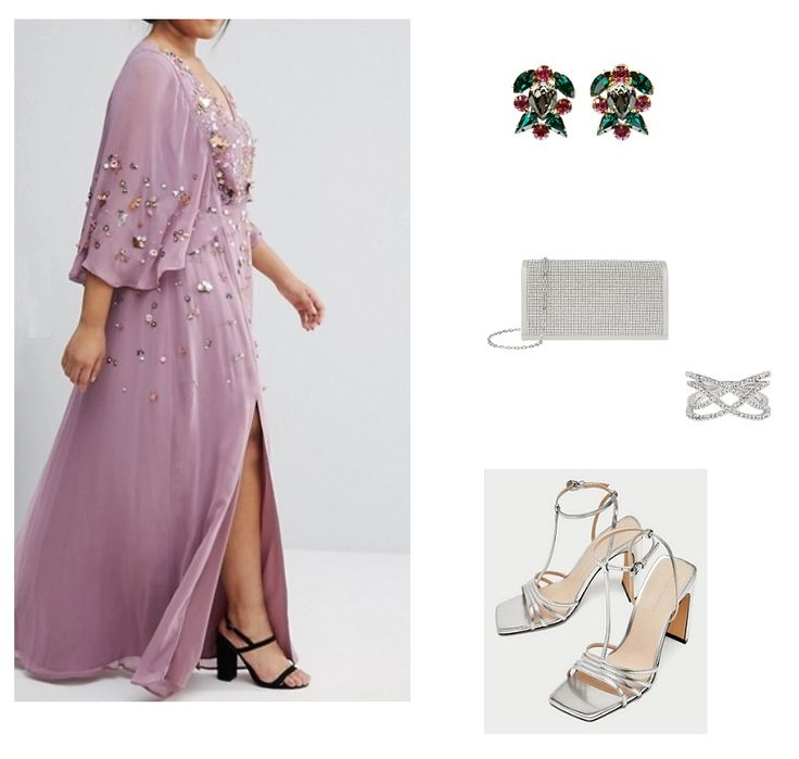 Lilac embellishment long dress+silver ankle strap heeled sandals+silver clutch+colorfull earrings+silver bracelet. Silver Wedding Guest Outfit 2018