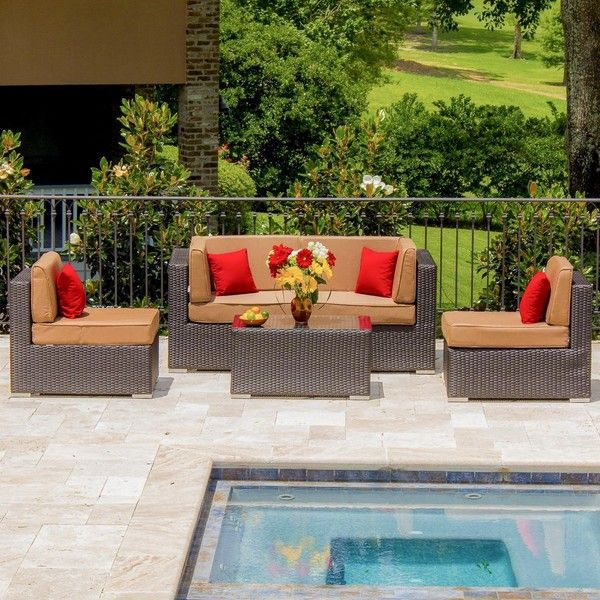 avery island 4person resin wicker patio sectional seating set by liked on polyvore featuring home outdoors patio furniture outdoors patio - Resin Wicker Patio Furniture