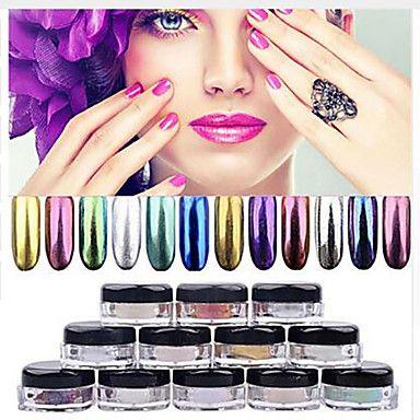 12 Color Chrome Mirror Powder Gold Pigment Ultrafine Powder Dust Nail Glitters Nail Sequins Nail Art Decorations 1g – USD $ 1.99
