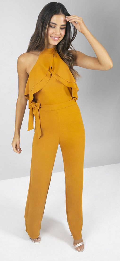 3cb79a269d8 Mustard Yellow Jumpsuit. Perfect for Autumn Wedding Guest Outfits. What to  wear to a