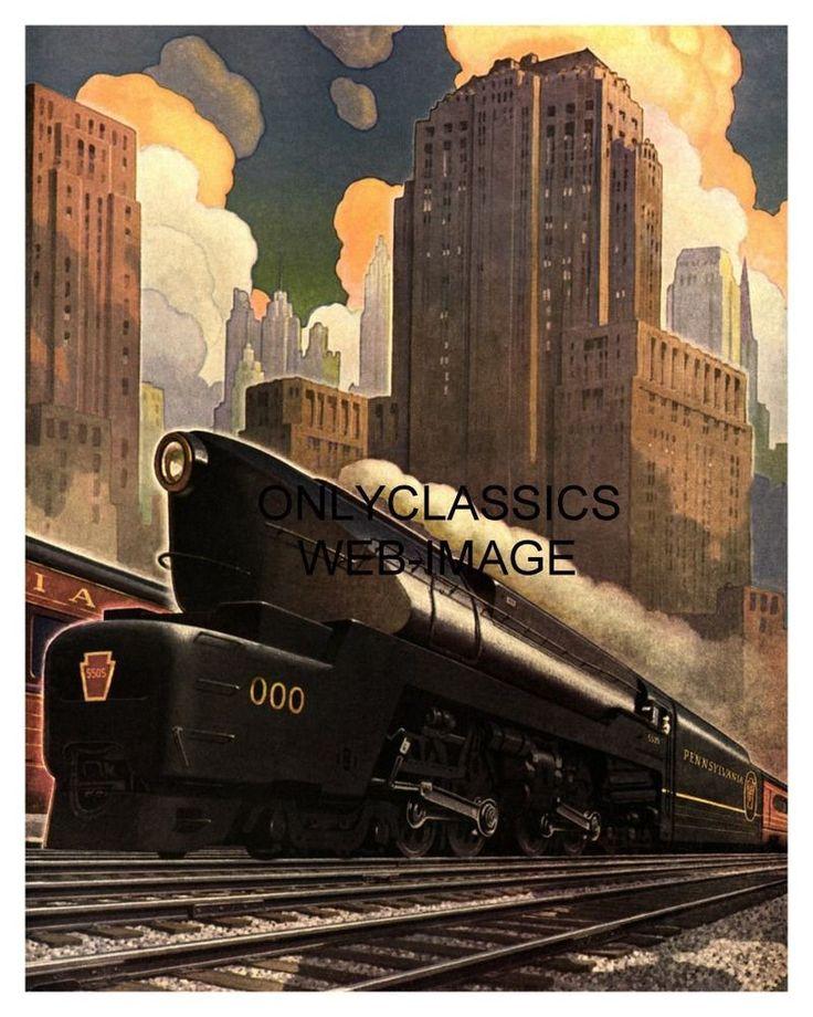 1940 ART DECO PENNSYLVANIA RAILROAD TRAIN POSTER STREAMLINED LOCOMOTIVE GRAPHICS #ArtDeco